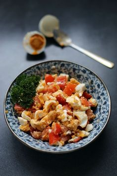Salted Eggs and Tomato Salad