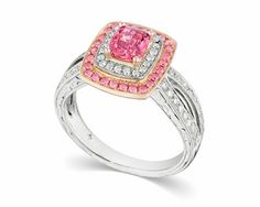 The Beverly ring is centered with a 1.3-carat cushion-cut diamond surrounded by 82 round brilliant pink and white diamonds mounted in 14k white and pink gold.