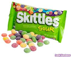 Yes, sour skittles...totally love them but rarely ever buy them...I just snag a few whenever the kids are given some. :)