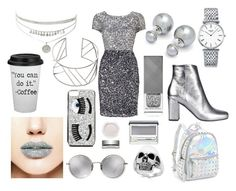 """""""Silver Outfit"""" by unicorn1019 ❤ liked on Polyvore featuring Longines, Yves Saint Laurent, Ted Baker, Bari Lynn, Forever 21, Linda Farrow, Adrianna Papell, John Lewis, Burberry and Effy Jewelry"""