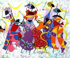 Haitian Canvas Painting Haitian Dancers Art of by TropicAccents Nature Paintings, Canvas Paintings, Original Paintings, Original Art, Art Haïtien, Haitian Art, Caribbean Art, Fire Art, Elements Of Art