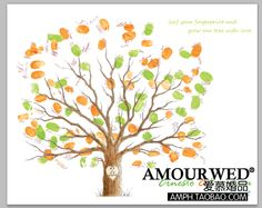 adoption party idea - creative fingerprint attendance Tree Love Tree Guest Signature canvas