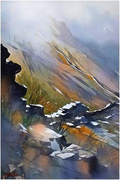 """""""Up the Mourne Wall """" Mountains of Mourne - Northern Ireland. Thomas W Schaller. Watercolor 24x18  10 Oct. 2014"""