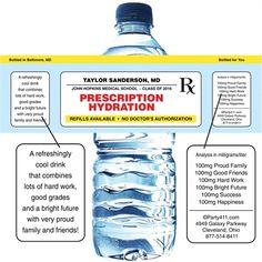 Nursing Graduation Prescription Pad Theme Water Bottle Label