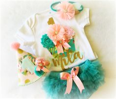 Pretty Peach, Teal and Mint Gold Glitter Personalized 1st Birthday Outfit