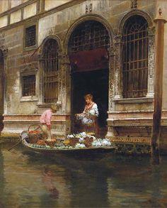 The Flower Seller, Vincenzo Caprile. Italian (1856 - 1936)