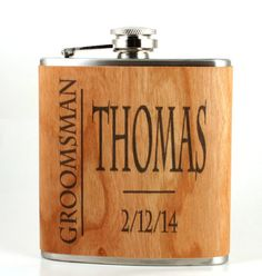 Flask- real wood wrapped personalized metal flask  - unique gift for groomsman - classy