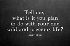 via http://thechalkmaven.tumblr.com/ your one wild & precious life - mary oliver