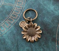 Daisy Keychain SMALL Daisy Keyring Personalized by MetalSpeakToo