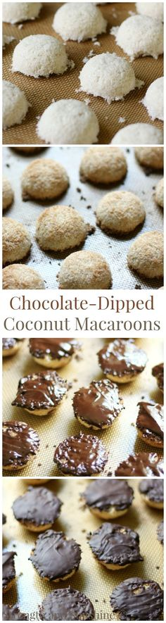 Chocolate-Dipped Coconut Macaroons | Strength and Sunshine /RebeccaGF666/ A sweet and fancy treat for any occasion! Chocolate-Dipped Coconut Macaroons are a delicious and easy, gluten-free, vegan, paleo, and allergy-free dessert recipe. Everyone will be wowed by this healthy coconut and chocolate bite!