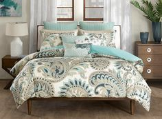 Liven up your seaside bedroom with this updated paisley styled Miramar Comforter Queen Size Mini Set. This unique design showcases shades of blue, aqua and taupe printed on 200 thread count cotton wit