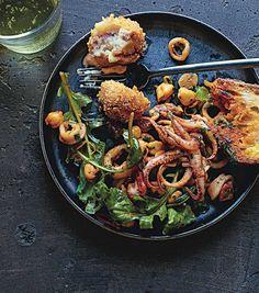 Jamón and manchego croquetas with calamari and chorizo salad