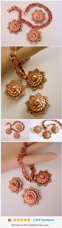 Retro Solid Copper Abstrct Sun/Moon Demi Parure / Bracelet / Clip Earrings / Book Chain / Vintage / Jewelry / Jewellery https://www.etsy.com/JoysShop/listing/546944127/retro-solid-copper-abstrct-sunmoon-demi?ref=shop_home_feat_1  (Pinned using https://PromotePictures.com)