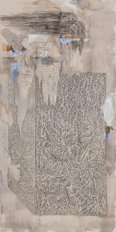 Yun Kyung-jeoung | Edifice IV, acrylic on unprimed canvas