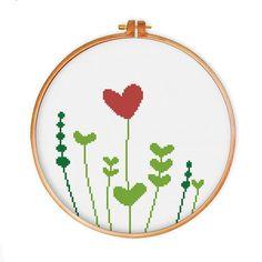 Heart Grass cross stitch pattern modern cross by ThuHaDesign