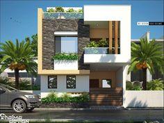Duplex House Plans, Bungalow House Design, House Front Design, Modern House Design, Villa Design, Facade Design, Exterior Design, Front Elevation Designs, House Elevation