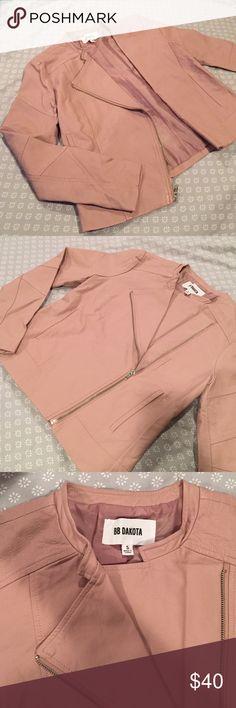 [BB Dakota] vegan leather jacket Never worn mauve/pink vegan leather zip jacket with pockets. Perfect for a going out look. BB Dakota Jackets & Coats Blazers