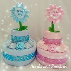 Baby Girl or Boy Flower Two Tier Nappy Cake With Booties