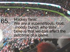 Hockey Fans...We are superstitious, loud, moody bunch who truly believe that we can affect the outcome of the game.