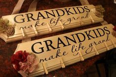 Grandkids Make Life Grand decal for 6 x 18 board by vinylexpress Vinyl Crafts, Vinyl Projects, Wood Crafts, Craft Projects, Tree Crafts, Yarn Crafts, Best Christmas Gifts, Holiday Crafts, Christmas Crafts