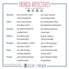 Learn where you should place French adjectives in a sentence with useful infographic and tips. French Adjectives, French Verbs, French Grammar, French Phrases, French Language Lessons, Spanish Language Learning, French Lessons, Spanish Lessons, Foreign Language