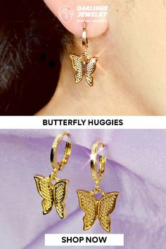 Fly high, Darlings! These adorable butterfly huggies are a must have. Wear them with any outfit to add a touch of fly gal magic to your look. Created with genuine 18k gold and premium stainless steel. 18k Gold, Diamond Earrings, Butterfly, Stainless Steel, Magic, Touch, Detail, Outfit, How To Wear