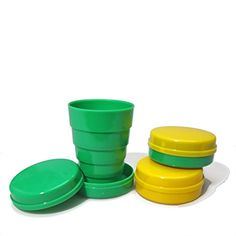 Collapsible Striped and Solid Folding Cups