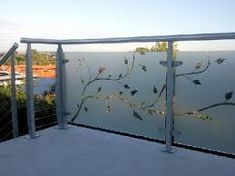 We offer decorative, frosted and privacy films in use for glass finishes throughout the home & can customise your ideas to suit your decor or design intention. Balcony Glass Design, Glass Balcony Railing, Balcony Railing Design, Home Inside Design, Glass Etching Designs, Steel Railing Design, Frosted Glass Design, Door Design, House Design