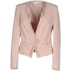 Giorgia  & Johns Blazer ($88) ❤ liked on Polyvore featuring outerwear, jackets, blazers, light pink, pink blazer, blazer jacket, light pink blazer, one button blazer and pink jacket