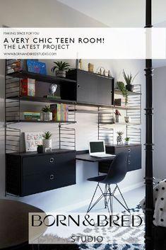 The latest project from Born & Bred Studio, London. Monochrome Bedroom, Modular Shelving, Making Space, Simple Interior, Kids Room Design, Interior Design Companies, Teen Bedroom, Beautiful Children, Interior Design Inspiration