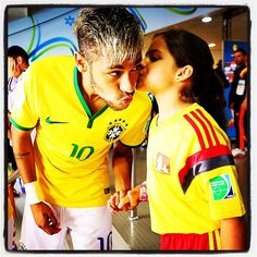 Luiz Felipe Scolari has just told a press conference he fears #Neymar will miss #Brazil's semi final with #Germany through injury. This wonderful photo was taken before today's game. Get well soon. #WorldCup #Copa2014
