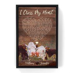 Custom Song Lyrics Couple Cow Canvas Wall Art - Frame / 24 x 36