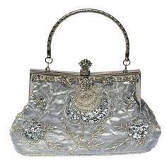 Silver Clutch Bag Beautiful Hand Beaded Vintage Wedding Prom Ladies Handbag New