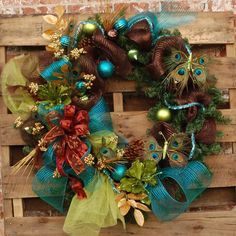 Deco Mesh Peacock Holiday Wreath XL by FeatherYourNestInt on Etsy, $149.99
