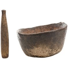 18th Century Native American Burl Mortar and Stone Pestle at 1stdibs
