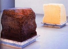 Janine Antoni Gnaw 1992. Here the artist  has gnawed away at 600 lbs of lard and 600 lbs of chocolate