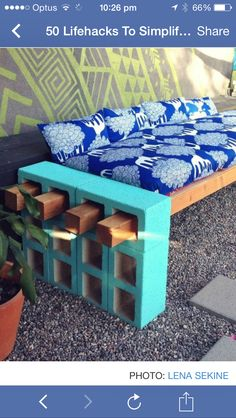 Cinder blocks and wooden beams. Out door seating