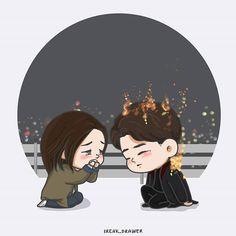 """[도깨비 13화] """"I love you"""" ㅡ싫어... 제발...... 아저씨 사랑해요.. 제발..... ㅡ나도.... 사랑한다....그것까지.... 이미 하였다 Heartbreaking scene... #그림 #freakdart2017 #펜아트 #김고은 #kimgoeun #金高銀 #คิมโกอึน #공유 #gongyoo #gongjichul #공지철 #이동욱 #leedongwook #유인나 #yooinna #육성재 #yooksungjae #tvn #kdrama #도깨비 #goblin #fanart #art #chibi #thelonelyandgreatgod"""