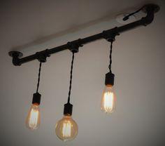 Lustre tuyau de fonte 3 ampoules par BlancdArgentCreation sur Etsy