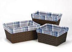 Boxes and Storage 117398: Blue Grey Plaid Organizer Storage Kid Basket Liners Fits Small Medium Large Bin -> BUY IT NOW ONLY: $34.99 on eBay!