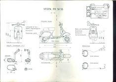Drawings of a 1983 Vespa PK 50 SS http://www.smcars.net/attachments/vespa-pk-50-ss-1983-jpg.132592/?utm_content=buffer0a0dc&utm_medium=social&utm_source=pinterest.com&utm_campaign=buffer #drawing #motorbike #vespa #analogue