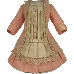 MARVELOUS Antique French Peach Cashmere Wool Couturier Costume for JUMEAU, BRU, STEINER other FRENCH BEBE.  The wonderful antique French peach