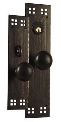 arts and crafts pacific style hand crafted hand hammered copper knob to knob entry set