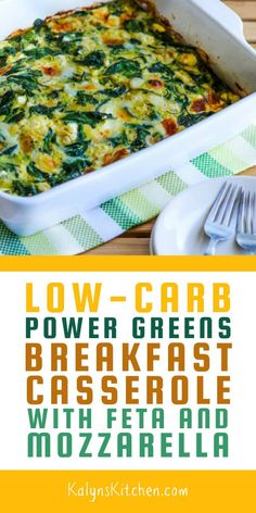 Low-Carb Power Greens Breakfast Casserole with Feta and Mozzarella - Kalyn's Kitchen - Food: Veggie tables Diet Dinner Recipes, Keto Recipes, Diet Meals, Diet Foods, Cream Recipes, Shrimp Recipes, Chicken Recipes, Healthy Recipes, Low Carb Breakfast