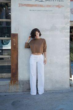 @Karla Deras #Zara Sweater, #Ralph Lauren Trousers, #Vintage Gold Jewelry, and #Essie 'Something Blue' nail polish.
