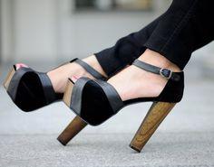 Julietta Black Block Heel Pumps