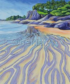 'South Chesterman Beach, Tofino' acrylic on canvas Abstract Landscape, Landscape Paintings, Oil Pastel Art, Sketch Painting, Surf Art, Painting Techniques, Painting Inspiration, Watercolor Art, Art Projects