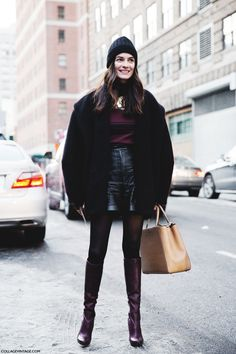 New_York_Fashion_Week-Street_Style-Fall_Winter-2015-Stripes_Fur_Coat-White_Boots-Beanie-Burgundy-Leather-Shorts-Fur_Coat