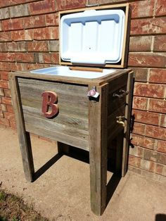 Outdoor ice chest made out of our old fence!