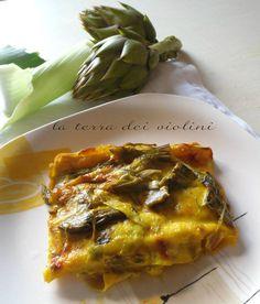 Lasagne con carciofi, porri e besciamella light